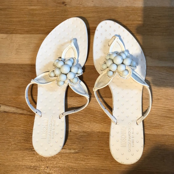 Moschino Shoes White Sandals With Flower Embellishment Poshmark